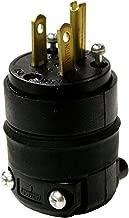 Leviton 515PR 15 Amp Rubber Plug Grounded 125 Volt, 10-Pack, Black, 10 Piece