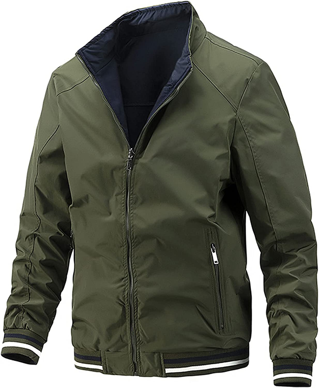 Men's Lightweight Casual Windbreaker,Full Zip Jacket,Two-Sided Wearable Fashion All-Match Coats