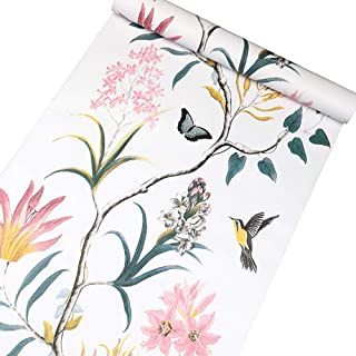 Vinilo autoadhesivo Vintage Floral Birds Muebles Etiqueta de papel tapiz de papel para paredes Cocina Backsplash Gabinetes...