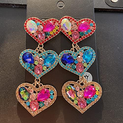 Pendientes Colgantes Color Tres Modelos De Amor Tendencia Señoras Brillante Rhinestone Colgantes En Forma De Corazón Joyas Accesorios Personalizados Regalo del Día De La Madre