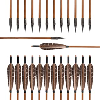 Huntingdoor 12 Pack 31 inch Bamboo Shaft Archery Hunting Arrows Fletching With Pheasant Feathers With A-30A Broadheads 150 Grain