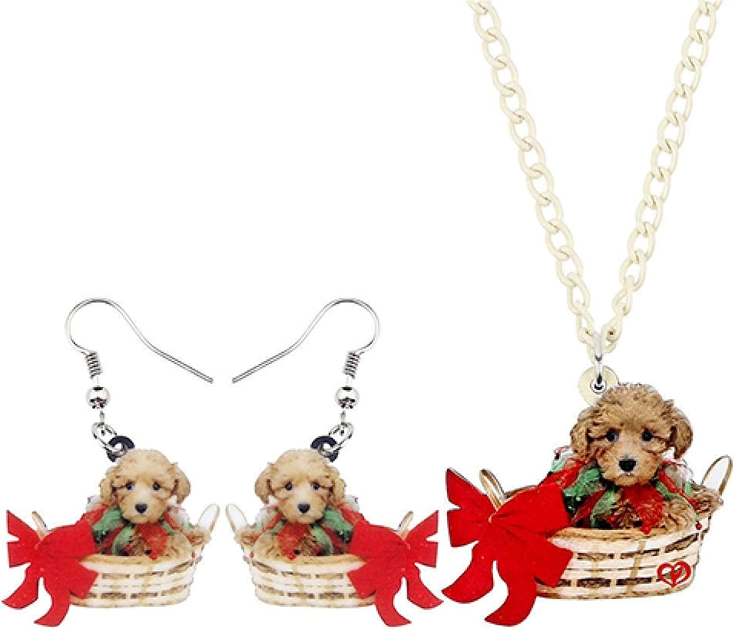 bayue Acrylic Cute Basket Puppy Dog Necklace Earrings Jewelry Set Kids Girls Girls Women Glamour Gifts Holiday Pet Decorations Zhaozb (Color : 1)
