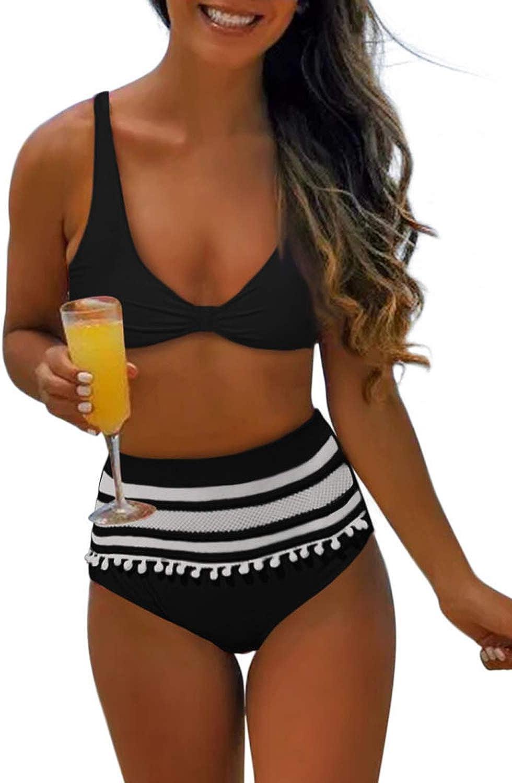 Dokotoo Womens Bikinis Vintage High Waisted Ruffled Bikini Sets Swimsuits Bathing Suits S-XXL
