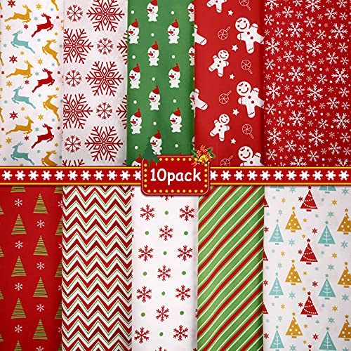 10 Pieces 50 x 50 cm/ 19.68 x 19.68 Inch Christmas Fabric Squares Quilting Fabric Patchwork Precut Fabric Christmas Snowflake Print Red Green Fabric for DIY Quilting Xmas Sewing Crafting