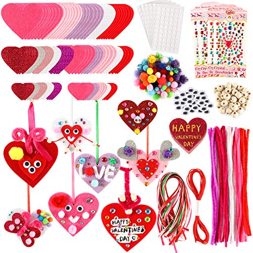 Valentines Day Crafts for Kids - 331PCS DIY Valentines Heart Craft Set for School Gift, 108 Hearts, 50 Googly Eyes, 60 Pom Poms, 36 Wooden Beads, Craft Supplies for Valentines Party Favor Decoration