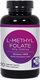 MD.LIFE L-Methylfolate|5-MTHF| 15 Miligrams| 30 Capsules| Metabolically Active Form of Folic Acid|