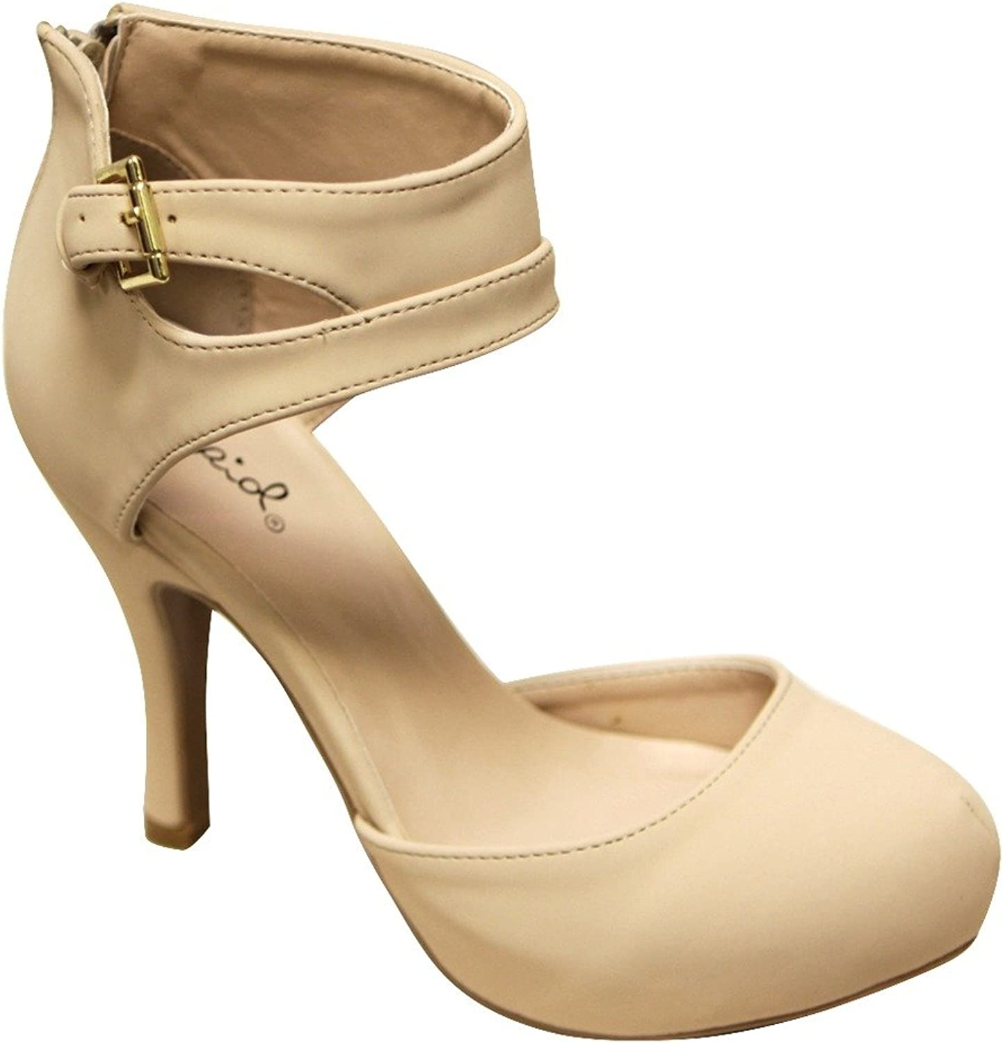 Qupid Trench-244 Women's Round Toe High Heel Zip Closure Buckle Ankle Straps Nubuck shoes