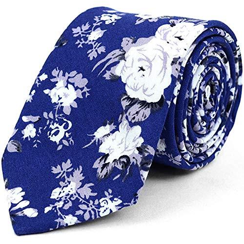 Corbata Hipster Azul Con Rosas Blancas Para Hombre Flores Florales Cor