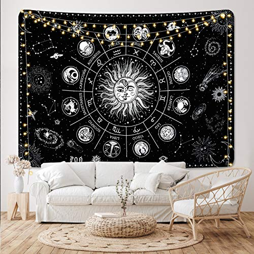 Sun and Moon Tapestry Zodiac Constellation Tapestry Black and White Astrology Tapestry Black Stars Tapestry Wall Hanging for Room(51.2 x 59.1 inches)