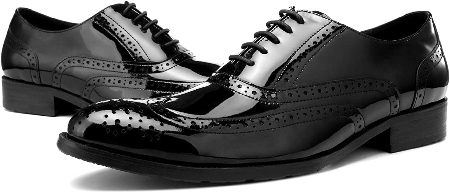 BONGZUO Oxford shoes, Carved shoes Patent Leather Men shoes Business England Leather Pointed Casual shoes Men Bright shoes, YMD590708