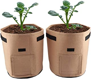 Breathable Potato Tomato Planting Bag Outdoor Garden Vegetable Plant Growth Bag for Growing Potato Carrot Onion 2Pcs(Brown)