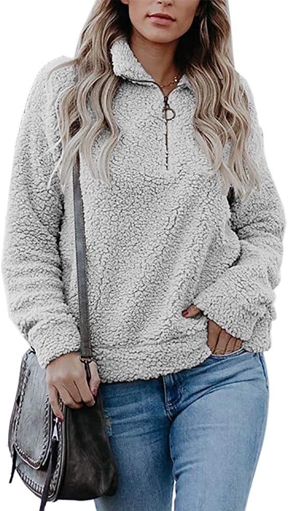 Dellytop National uniform Special price free shipping Womens Sherpa Partial Zip Long Sweatshirt Fuzzy Slee Up