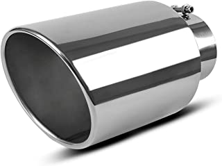 5 Inch Inlet Chrome Exhaust tip, AUTOSAVER88 Universal Stainless Steel Diesel Exhaust Tailpipe Tip for Truck Cars, 5 x 8 x 15 Bolt/Clamp On Design.