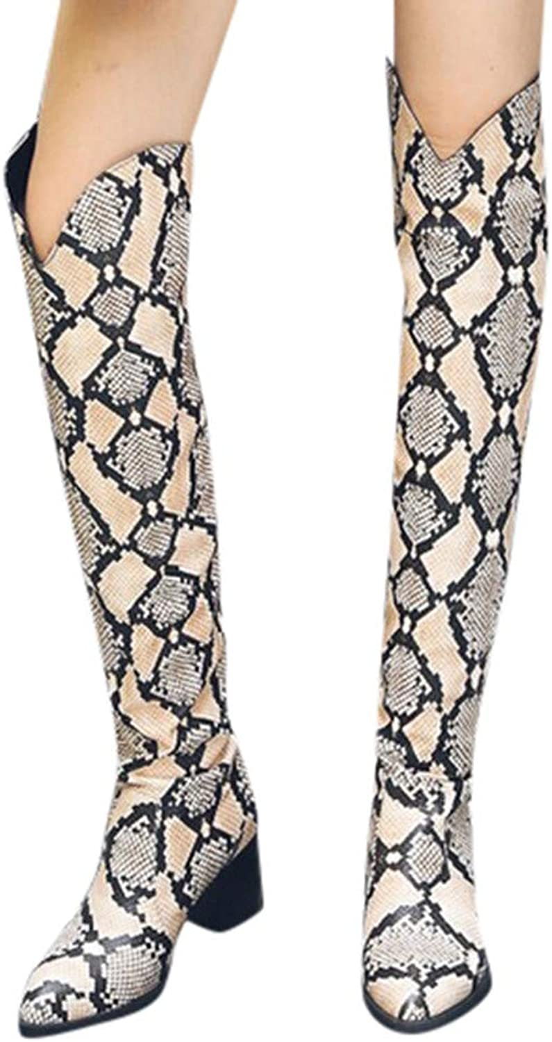 2018 Women's High Stilettos Pointy toe Snakeskin Texture Lady FASHION Over Knee Thigh Boots
