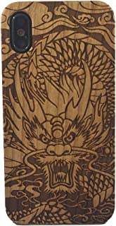 iPhone X Case, Genuine Cherry Wood Hard Shell Case with Laser Engraved Chinese Dragon for iPhone X (GMPC-IPX-01)