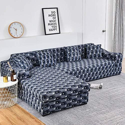 Fundas de sofá en Forma de L para Sala de Estar Fundas de sofá elásticas Funda de sofá Funda de sofá de Esquina elástica Chaise Longue A18 3 plazas