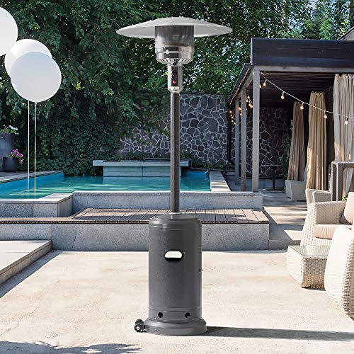 PAMAPIC 46,000 BTU Outdoor Patio Heater with Cover, Silver Hammered Stainless Steel