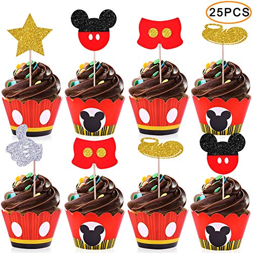 Mickey Cupcake Toppers Wrappers Kids Birthday Micky Party Supplies-25 Topper 25 Wrappers
