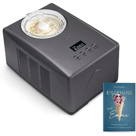 Sorbetière Turbine à Glace Emma avec compresseur auto-refroidissant, 1,5 l machine à glace en acier inoxydable avec mise hors tension automatique, récipient à glace amovible, LCD