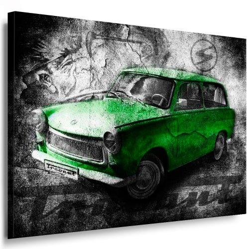 Trabant Grün Kunstdruck LeinwandBild 100x70cm / Leinwandbild fertig auf Keilrahmen - Kunstdrucke, Nr.35677661182 Leinwandbilder,bilder, Poster, Gemälde, Pop Art Deko Kunst Bilder