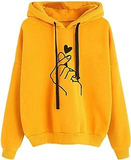 WOOKIT Kpop Finger Heart Sweatshirts Women Girls Hoodies Hip Hop Long Sleeve Pullover Hooded Tops Loose Casual Printed Out...