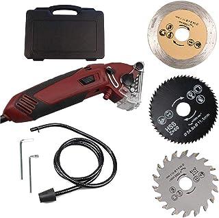 Kacsoo mini elektrisk kompakt cirkulär såg maskin 400 W med 3 karbidtippade blad, professionella träbearbetningsverktyg sk...