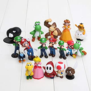 LQT Ltd 18pcs/Set 3-7cm Super Mario Bros PVC Action Figures Toys Yoshi Peach Princess Luigi Shy Guy Odyssey Donkey Kong Model Dolls