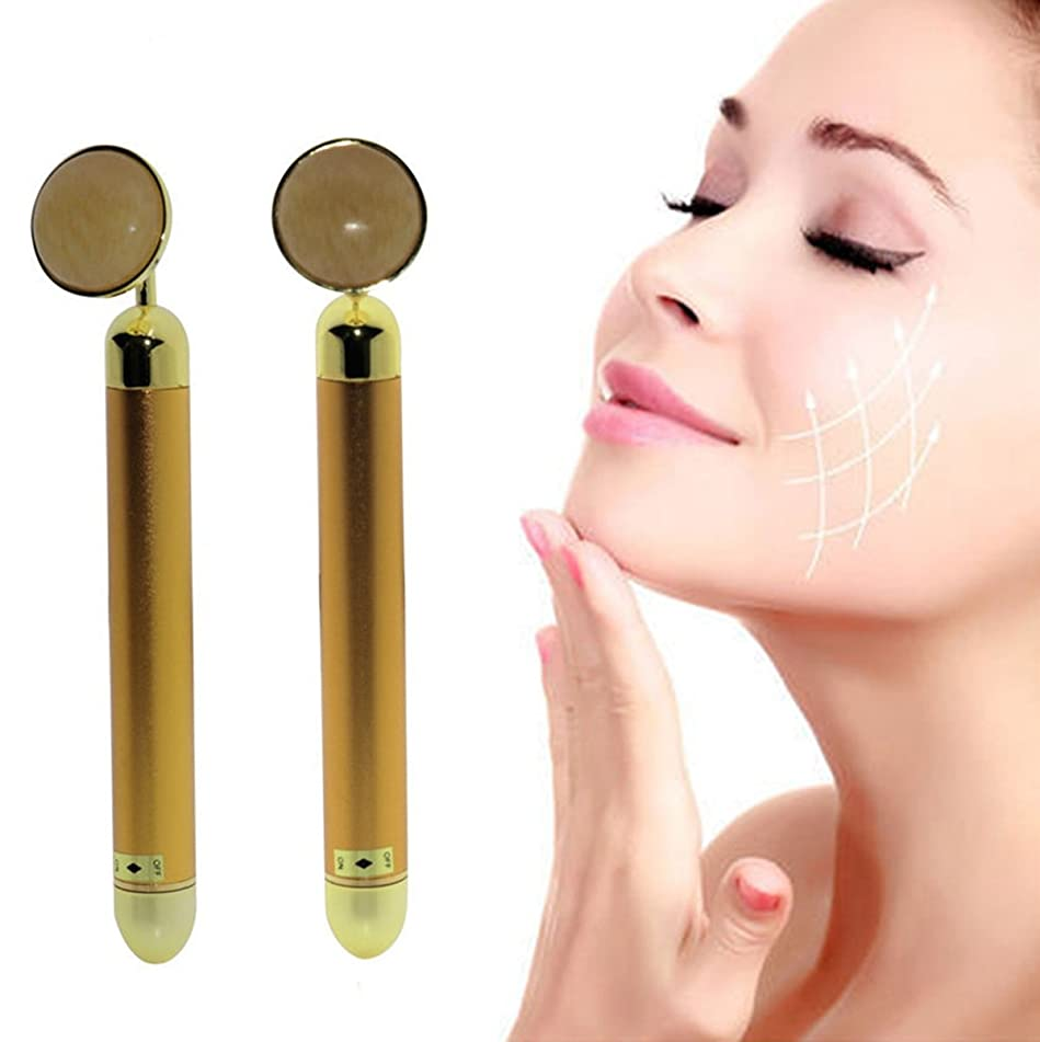 Beauty Bar 24k Golden Pulse Facial Massager, Round Roller Energy Gold Stick Skincare Wrinkle Treatment Body Care, Eliminate Dark Circles (T Roller) (R Jade Roller)