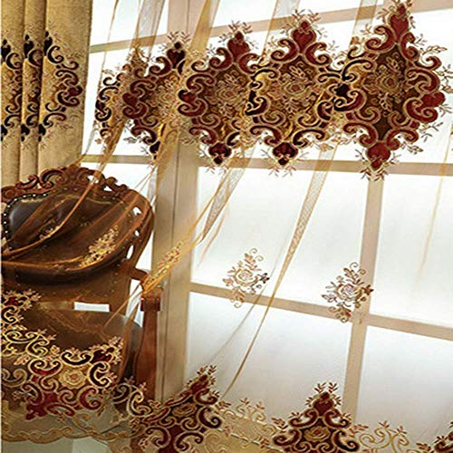 ZZCZZC European Style Embroidery Sheer Voile Curtain Panels for Bedroom 84 Inches Long Luxury Floral Brown Sheer Curtain Drapes Curtain Tulle for Living Room Rod Pocket 2 Panels W79 L84 Inch