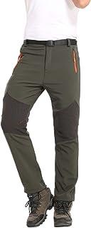HTB Men's Outdoor Softshell Fleece Lined Hiking Cargo Pants 4 Zipper Pockets Breathable Waterproof Windproof Snow Ski Pants