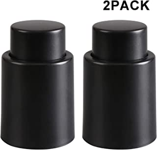 Wine Bottle Stopper Vacuum, HYZ Wine Saver Vacuum Pump Keeps Wine Fresh, Reusable Wine Sealer Preserver, Plastic Wine Bottle Plug, Black (Set of 2)