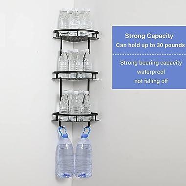 3-Tier Corner Shower Caddy Basket with Hooks No Drilling Metal Bathroom Shower Organizer and Storage Racks Black Wall Mounted