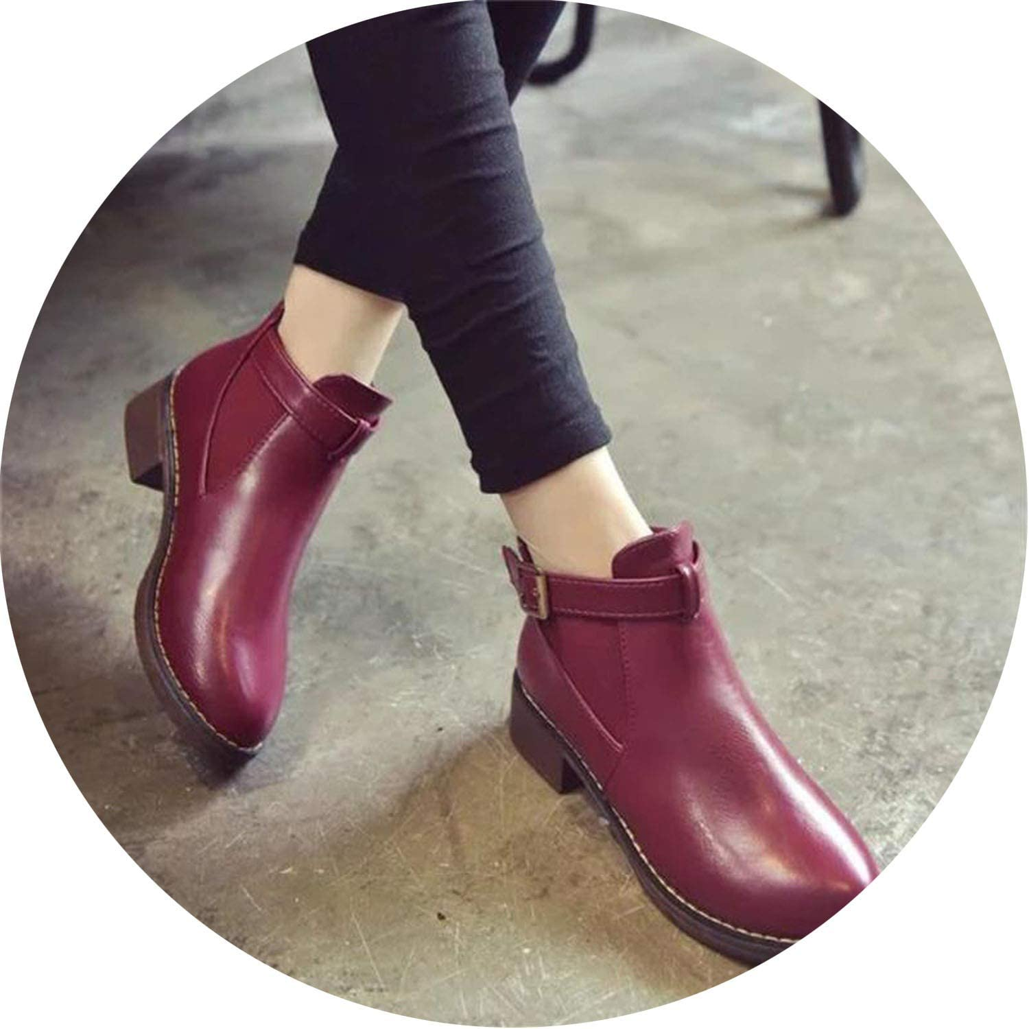 Meet- fashion Ankle Boots Female Casual shoes Woman Flat Platform Round Toe Buckle Strap Solid Comfortable
