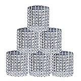 MaoXinTek Serviettenringe Strassband Silber Halter Bling Mesh Schmuck für Hochzeit Geburtstag Diamant Klettverschluss Party Dekoration 50 Stücke