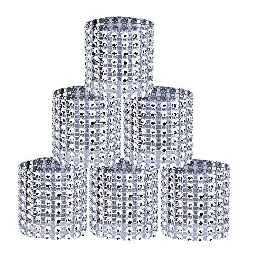 Servilleteros de aro de servilleta para servilletas de tela y papel y los anillos Diamante de imitación de dise Ñor hueco del dibujo roso para fiesta de navidad y decoración de mesa 50 piezas