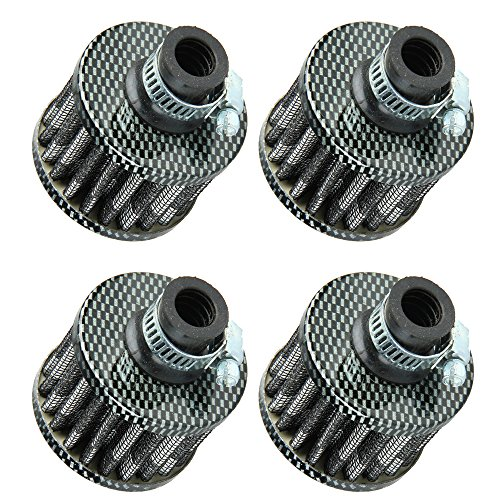 ESUPPORT 12mm Mini Carbon Fiber Universal Car Motor Cone Cold Clean Air Intake Filter Turbo Vent Breather Pack of 4
