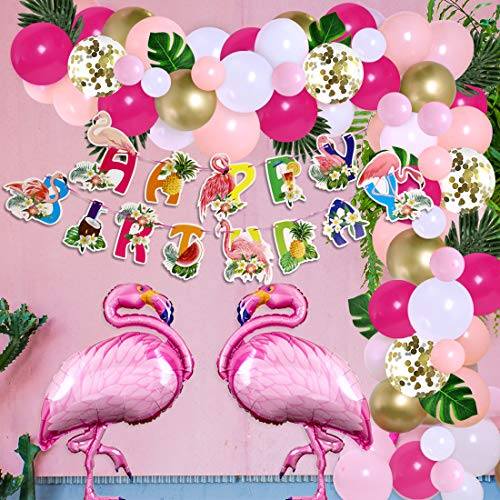 Kreatwow Flamingo Decorazioni per Feste di Compleanno per Ragazze Palloncino Tropicale Kit Ghirlanda ad Arco Fenicottero Ananas Banner di Buon Compleanno Hawaiian Luau Aloha Forniture per Feste
