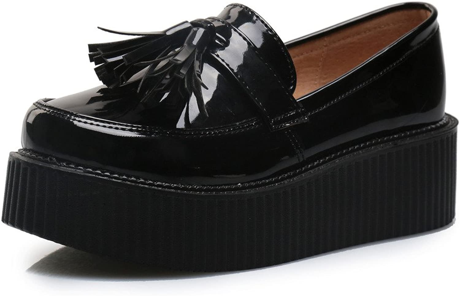 pinkG Women's Cute Bowknot Flats Platform Loafers Moccasin Goth Punk Creepers shoes