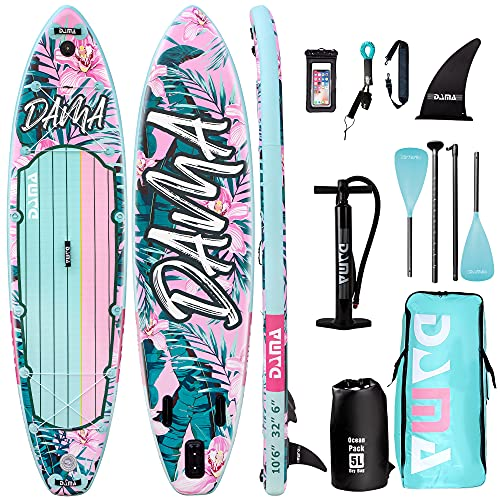DAMA Stand Up Paddle Boards 10'6'32' 6' Drop Stitch Inflatable Board Sup Boards Classic Flower W/Leash, Camera Mount, Hand...