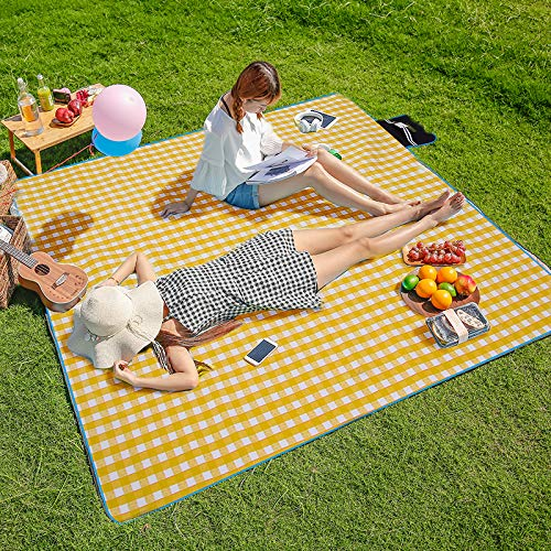 """CHANODUG Three Donkeys Machine Washable Lightweight Picnic & Beach Blanket Rug Handy Mat Tote Plus Thick Dual Layers Wate-Resistant Sandproof Padding Portable for Family,Friends, Kids, 79""""x79"""""""