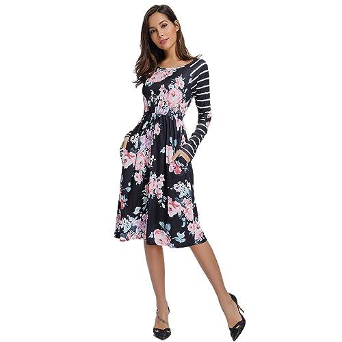 bb2607793f INWECH Women s Long Sleeve Midi Pleated Swing Dress Stripe Elastic Waist  Casual Knee Length Dress with