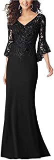 kxry Women's Lace V Neck Mother of The Bride Dress Floor Length Evening Party Formal Gowns