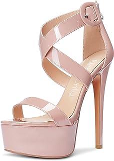 Women's High Heels Platform Cross Ankle Strap Sandals Open Toe Stilettos Basic Office Sandal 6