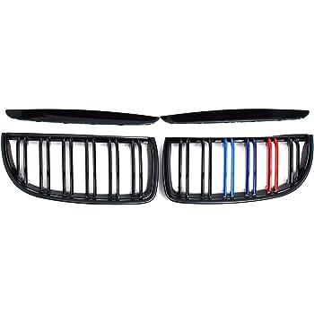 colore nero 3 pezzi Griglia del radiatore a doppia barra per E90 e E91