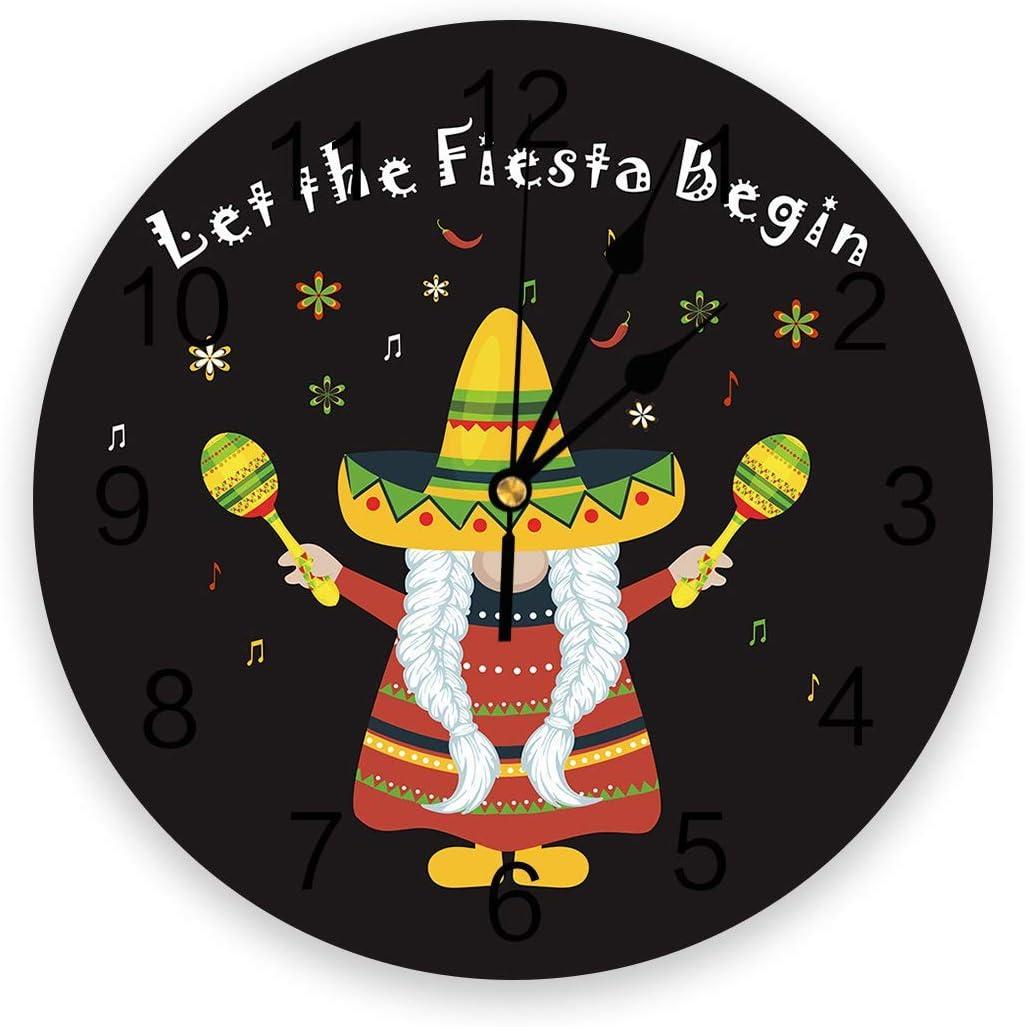 Mexico 5 de mayo Reloj de pared silencioso que no hace tictac, relojes de números redondos de PVC que funcionan con pilas, decorativo para dormitorios de casa, 9,8 x 9,8 pulgadas, Strawhat Chili Music