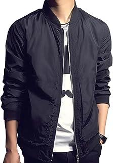 Men Fashion Classic Collarless Bomber Jacket Slim Bike Motorcycle Coat Outwear