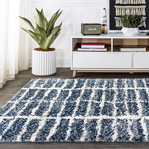 JONATHAN Y Merida Stacked Grid Shag Indigo Blue/Ivory 8 ft. x 10 ft. Area Rug, Bohemian, Easy Cleaning, For Bedroom, Kitchen, Living Room, Non Shedding
