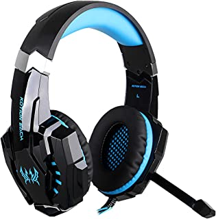 KOTION EACH 3.5mm Gaming Headphones casque Stereo Earphone Headset with Mic LED Light for Laptop Tablet / PS4 Gamepad -Blue