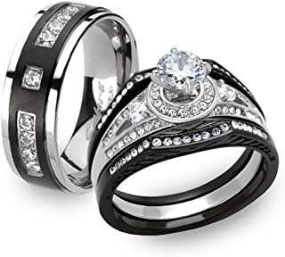 Marimor Jewelry Black & Silver Stainless Steel & Titanium His & Her 4pc Wedding Ring Band Set