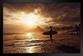 Surfer On Ipanema Beach Sunset Rio De Janeiro Brazil Black Wood Framed Art Poster 20x14